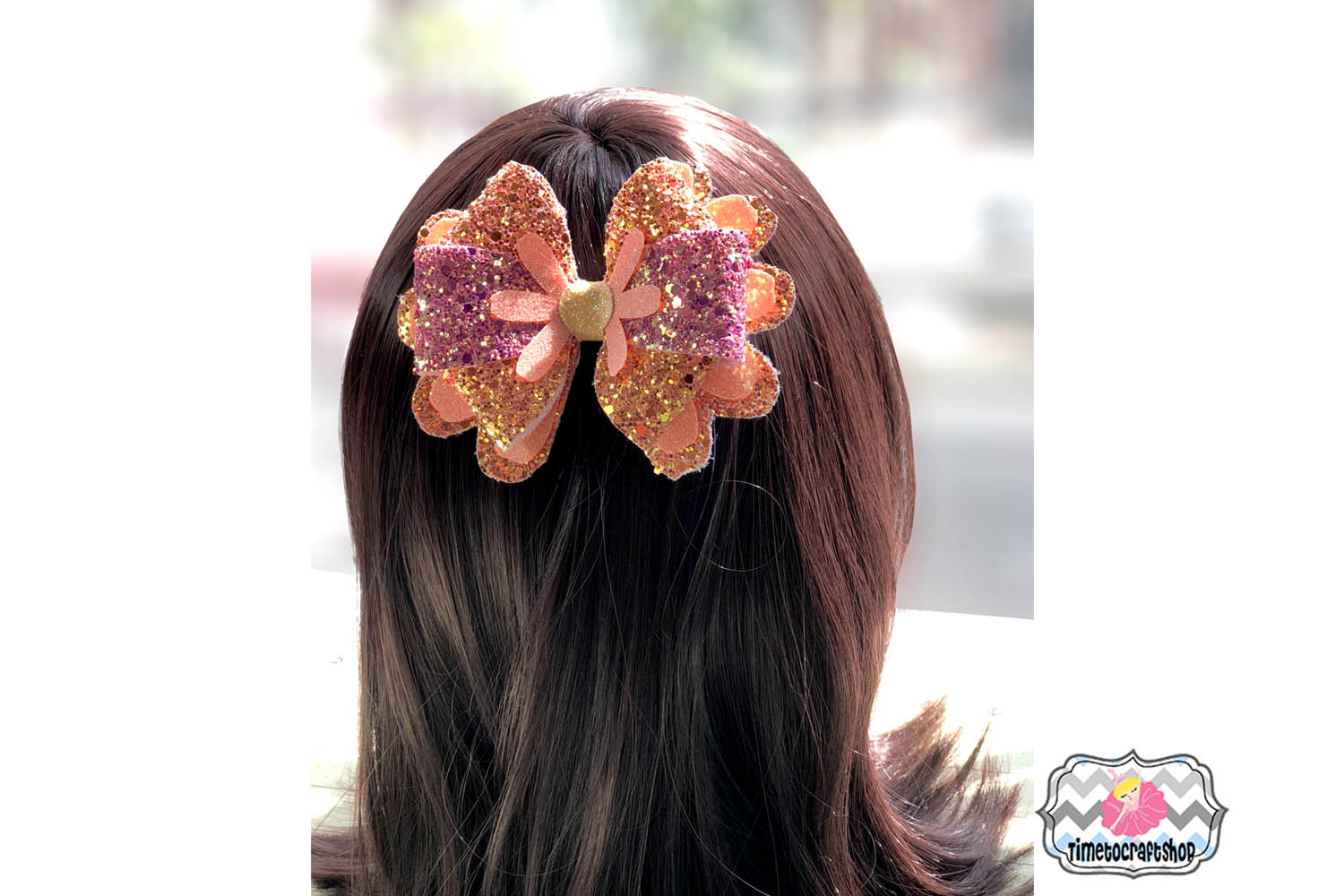 3D Daisy Flower Hair Bow Template SVG, PNG, DXF, PDF, JPEG example image 2