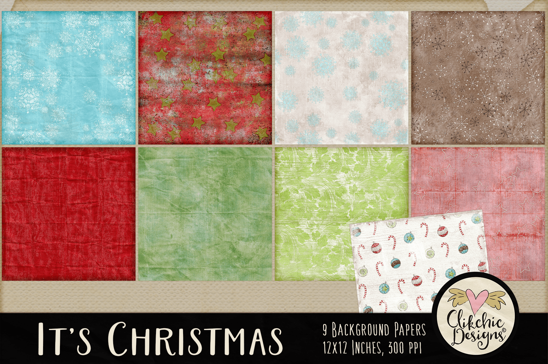 Christmas Backgrounds - Christmas Digital Papers Textures example image 2