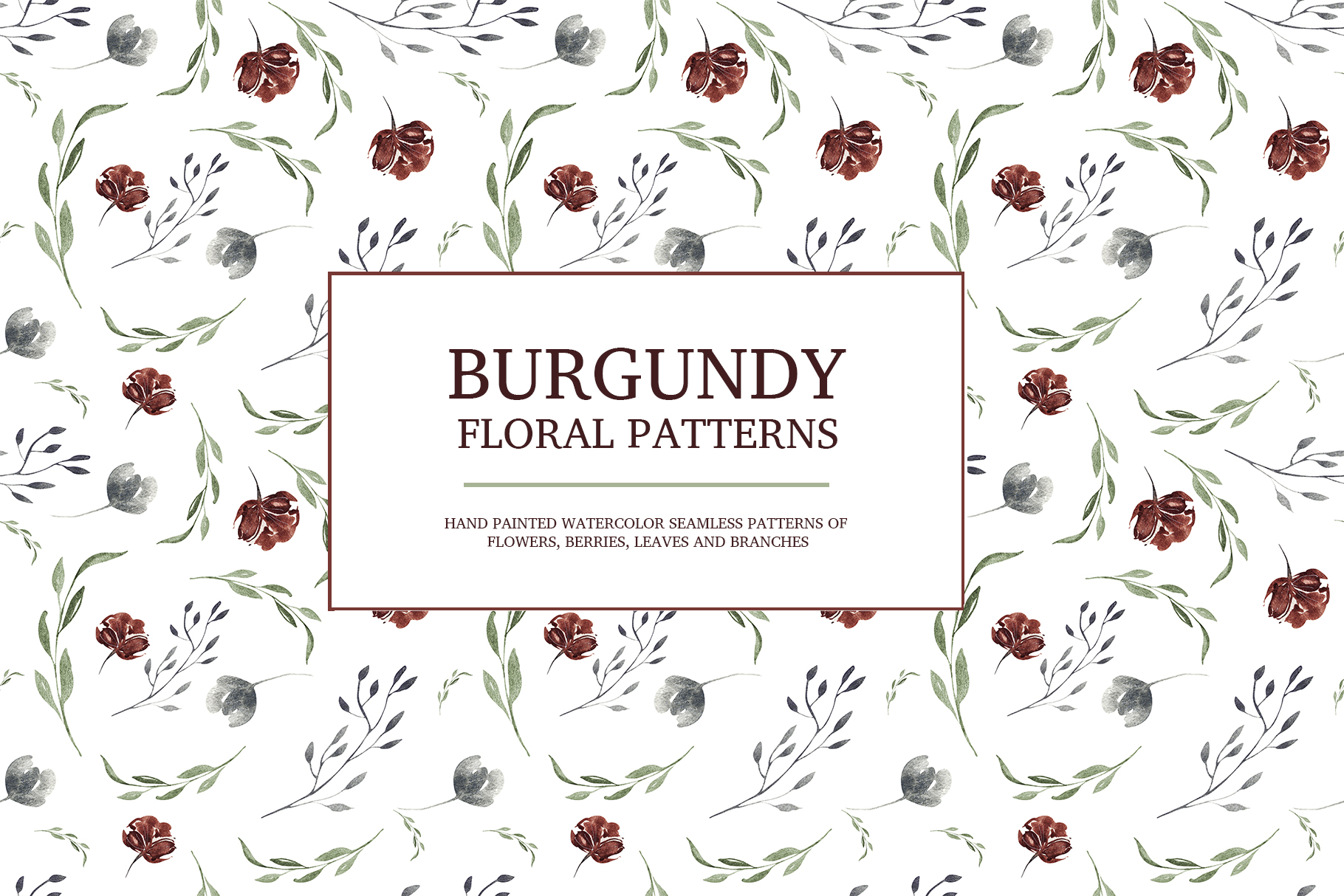 Burgundy floral seamless patterns, Seamless peony pattern example image 11