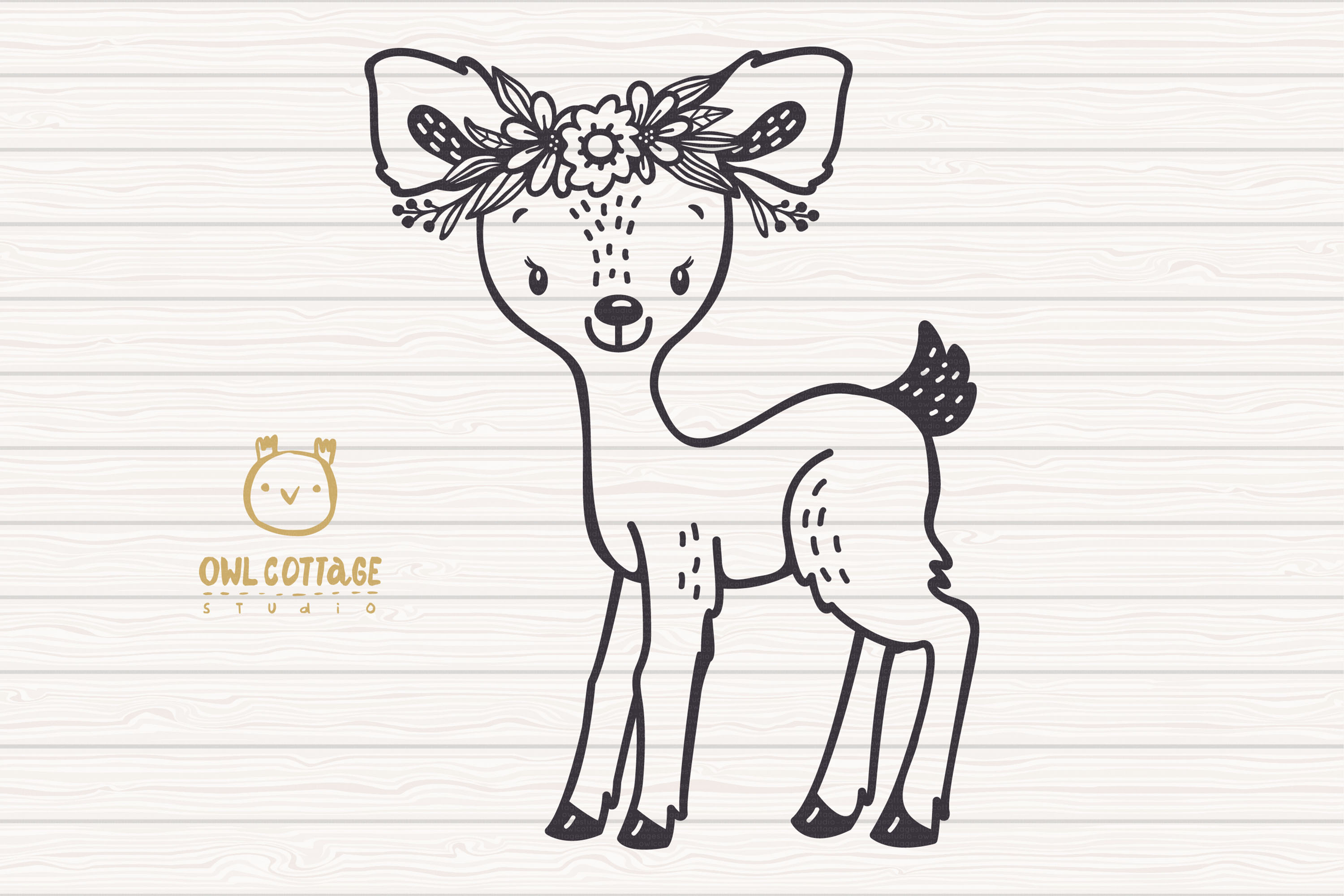 Baby Deer with Flowers Crown Svg , Favn Cut File example image 2