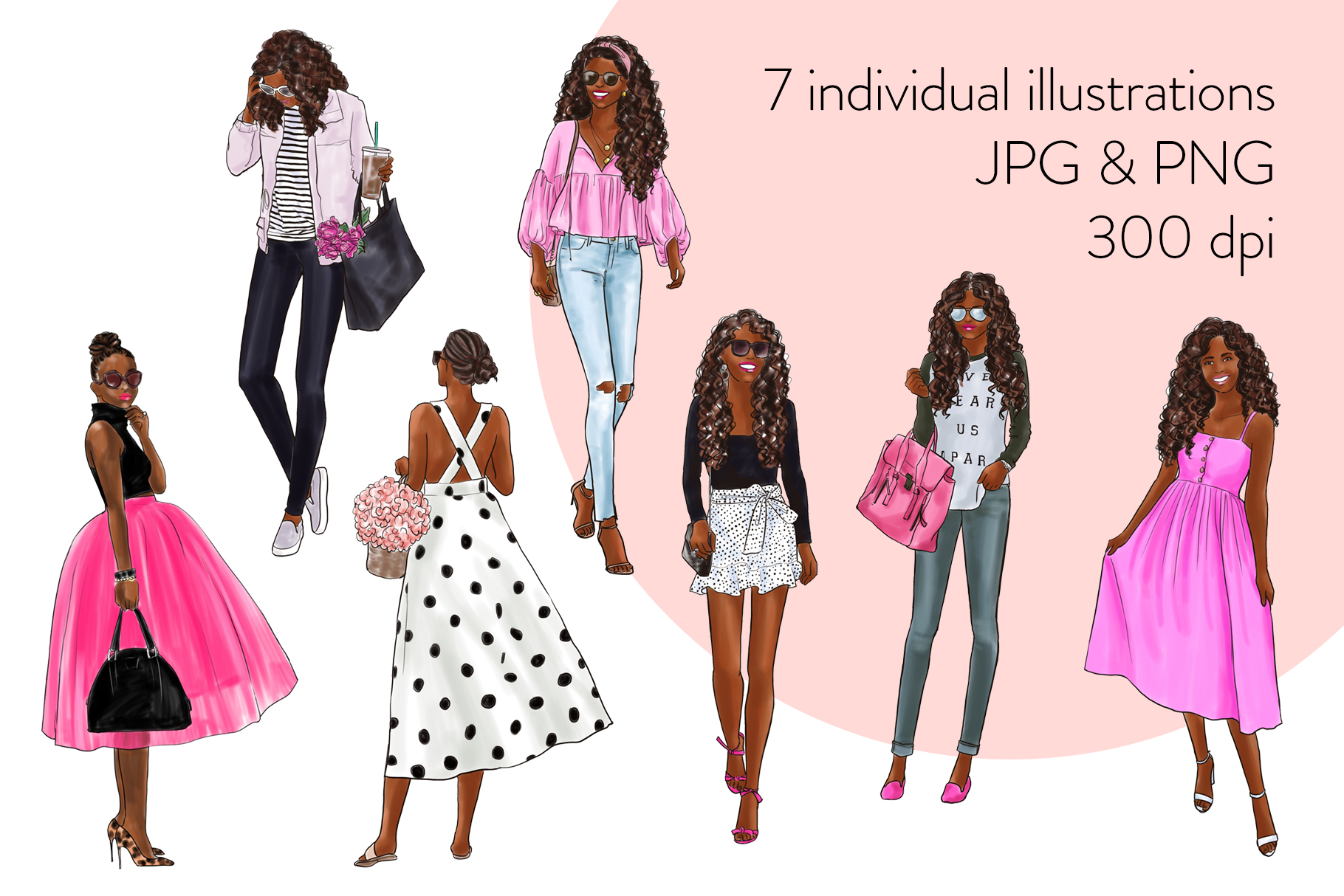 Fashion illustration clipart - Girls in Black & Pink - Dark example image 2