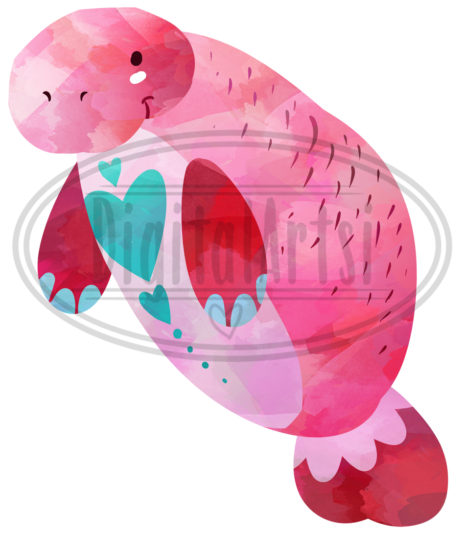 Watercolor Valentines Animals Clipart example image 3