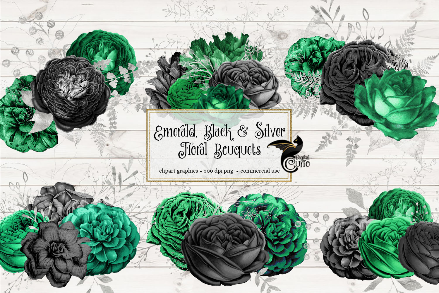 Emerald Black and Silver Floral Bouquets example image 2