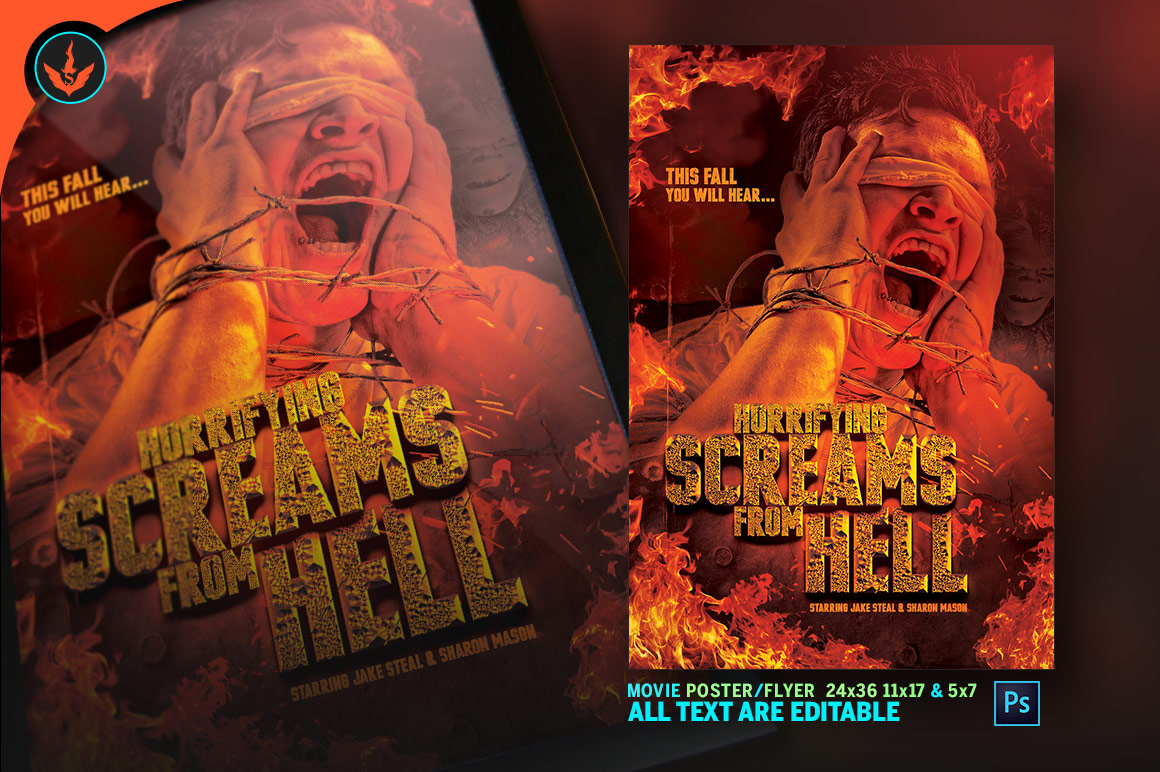 Screams from Hell Movie Poster ane Flyer Photoshop Template example image 4