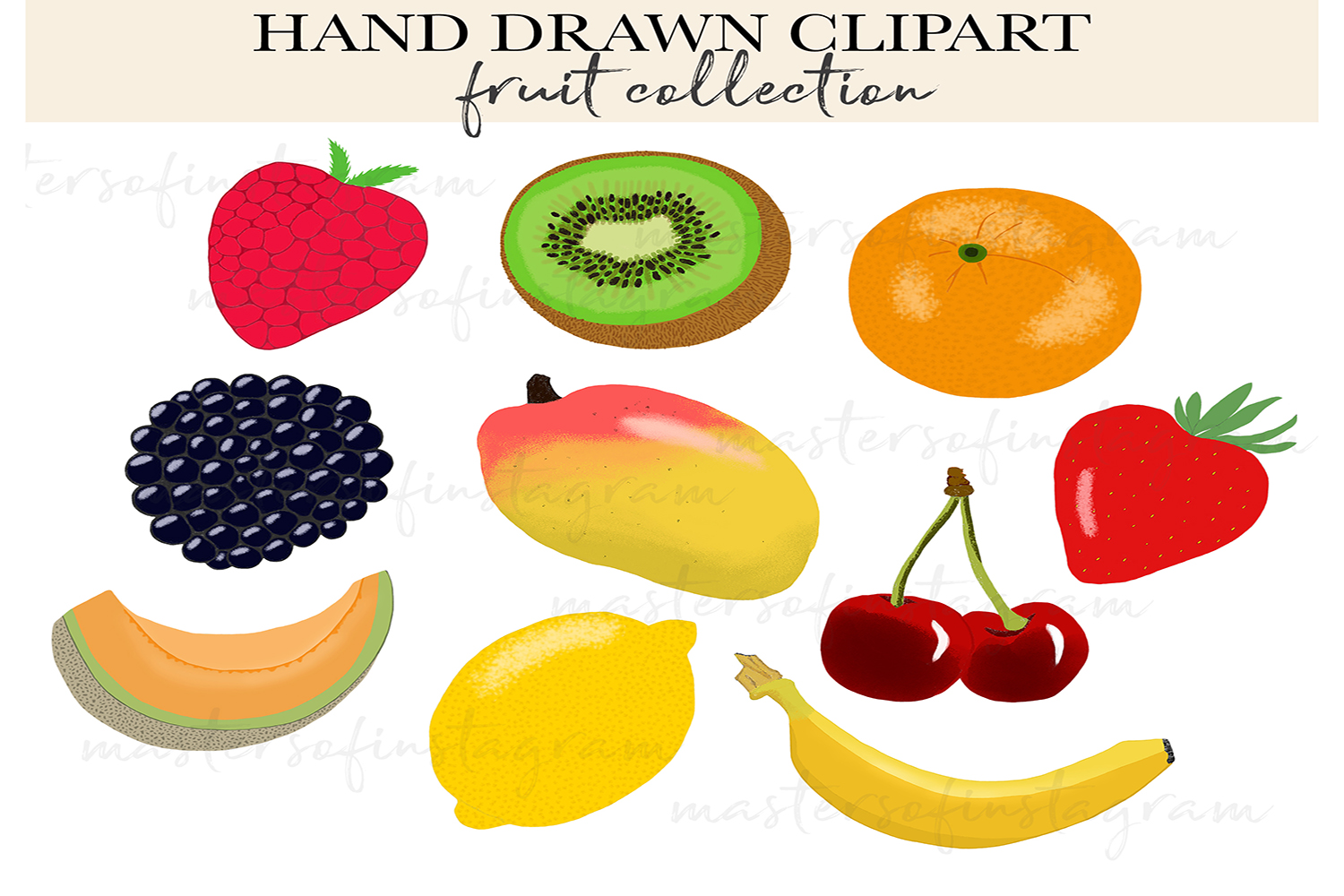 Hand drawn fruit clipart icons illustrations example image 1