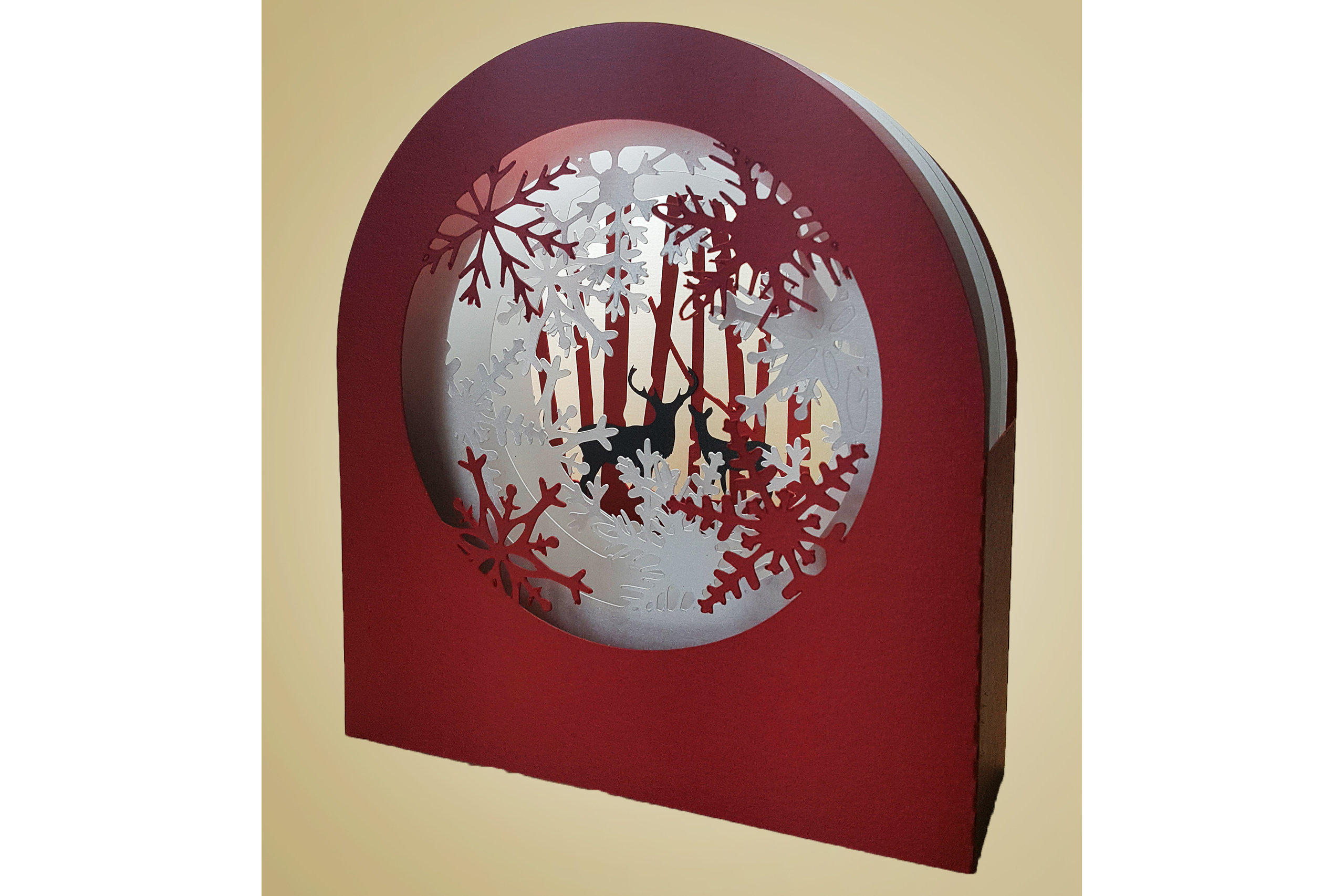 Snowflakes and Deer shadow box card example image 2