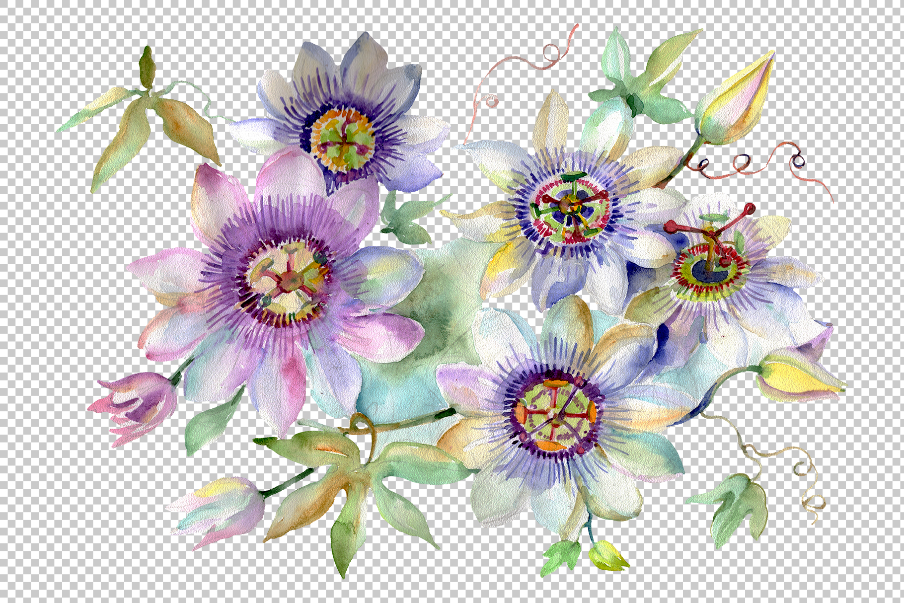 Bouquet of spring hello watercolor png example image 2