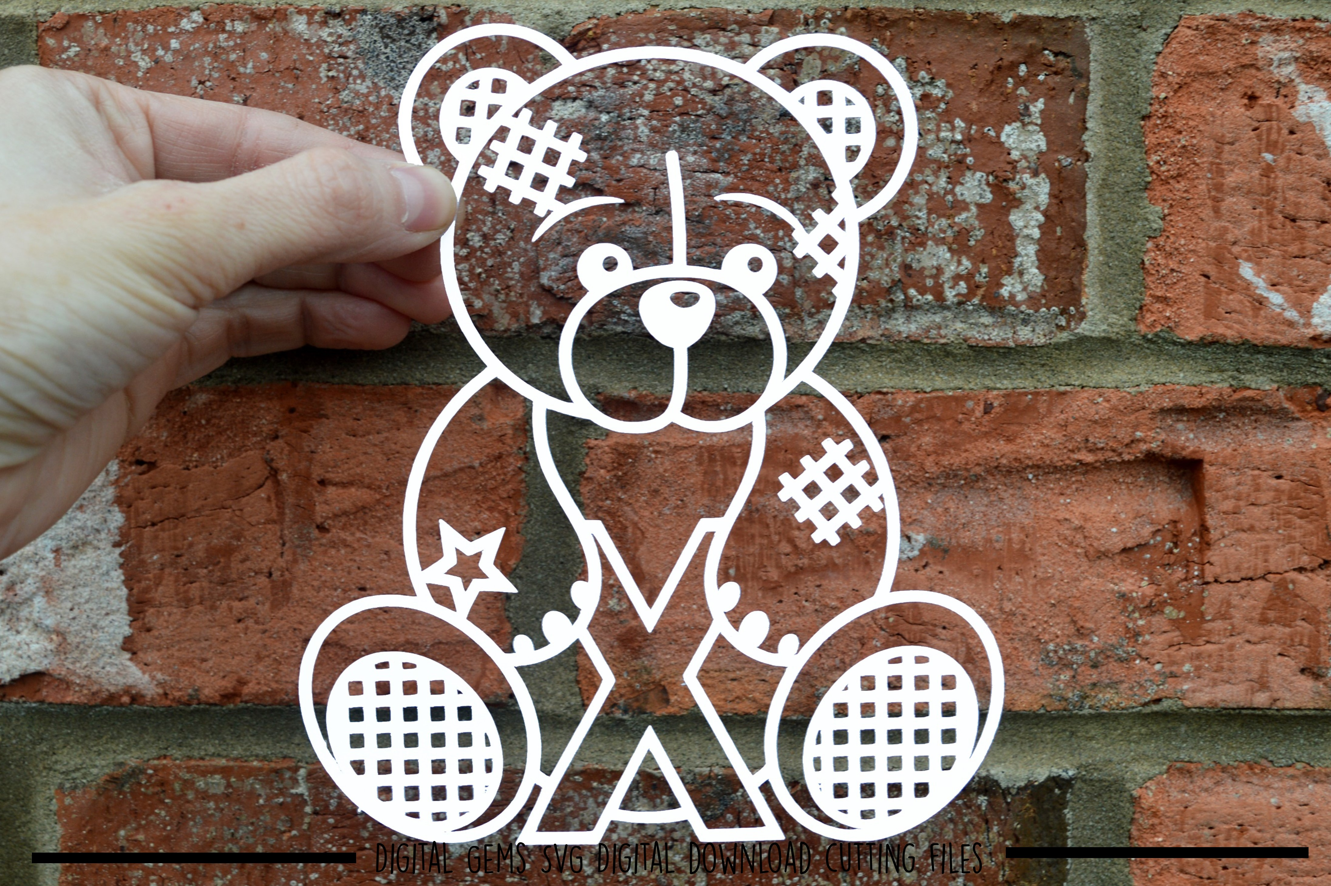 Alphabet teddy bear paper cuts SVG / DXF / EPS files example image 23