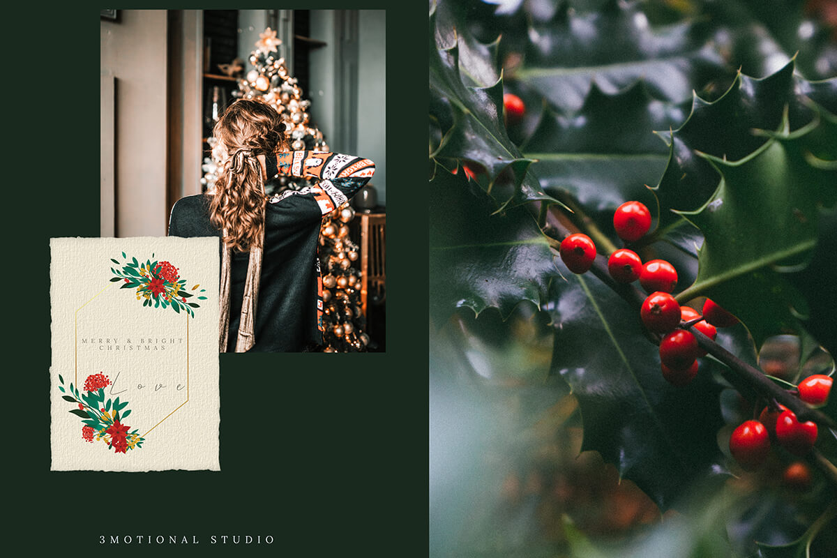 Christmas Watercolor Gold Flower collection example image 9