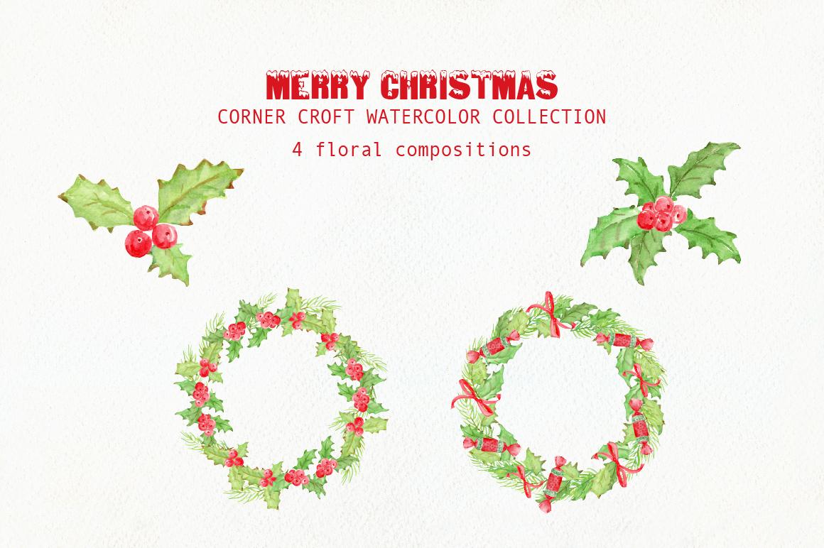 Watercolor Christmas Card Design Kit example image 4