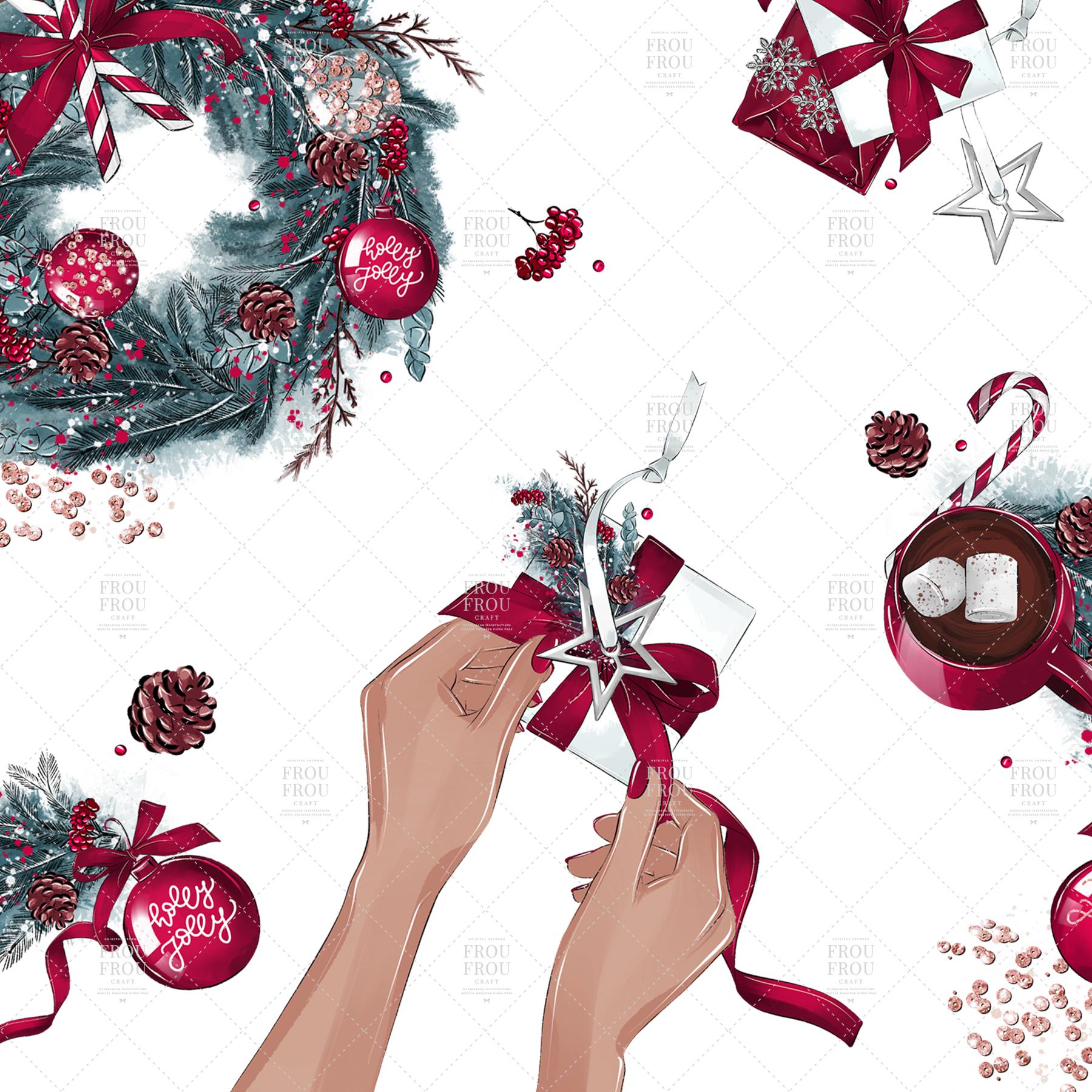 Christmas Tree Winter Present Gift Cozy Clip Art example image 2