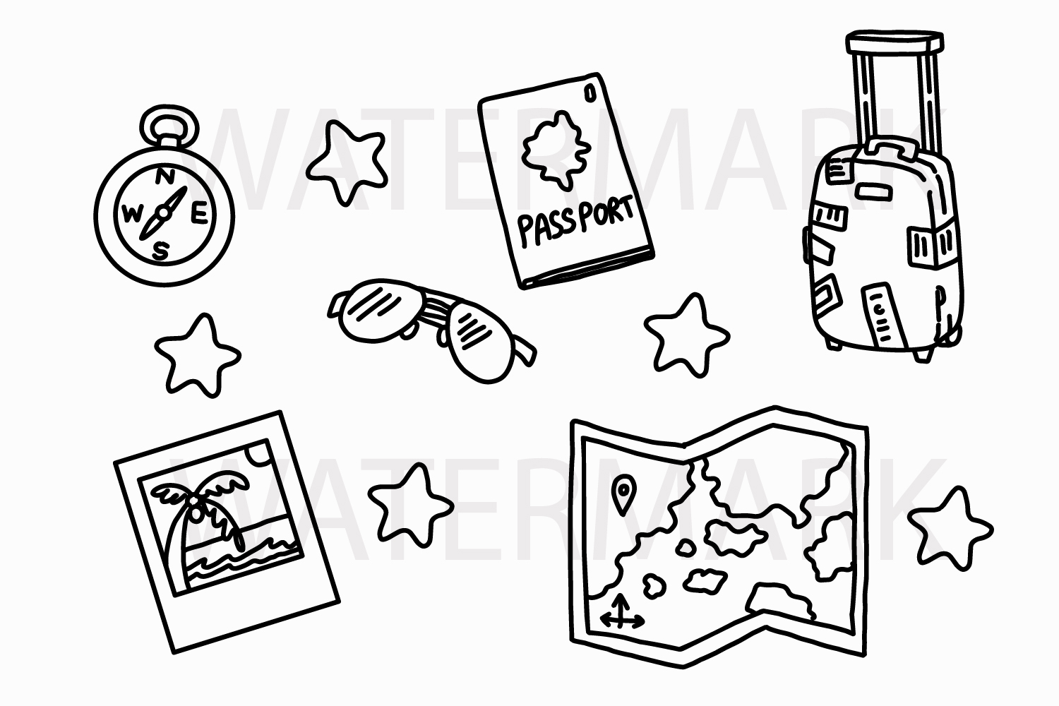 Traveling Stuff Set - SVG/JPG/PNG Hand Drawing example image 1