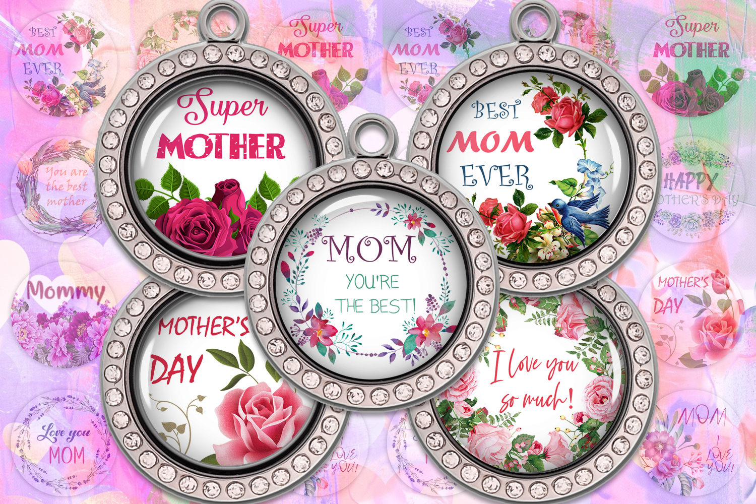 Mothers Day,Happy Mother's Day,Digital Collage Sheet,Prints example image 1