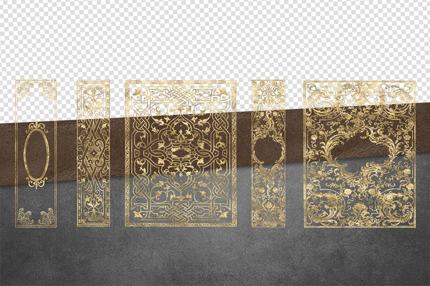 Gilded Gold Old Book Cover Overlays example image 5