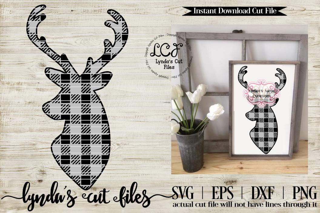 Buffalo Plaid Deer//Christmas//Winter//SVG//EPS//DXF example image 1
