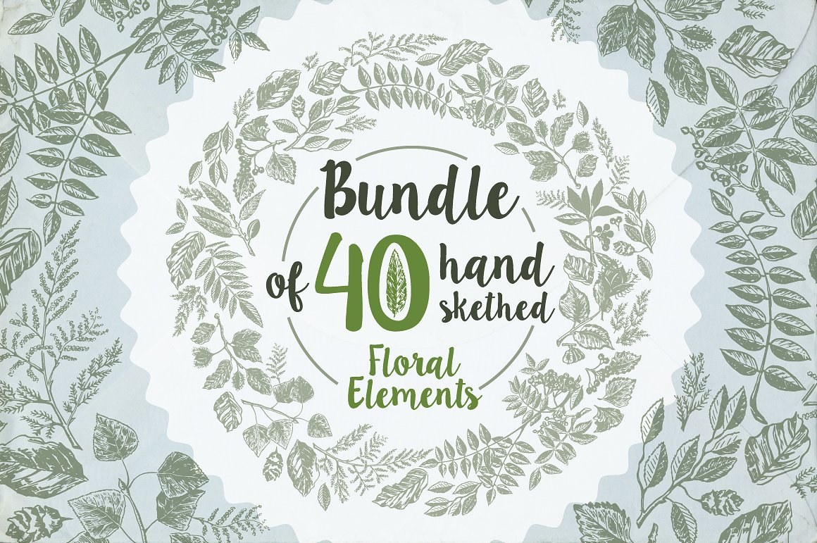 40 handsketched floral elements example image 1