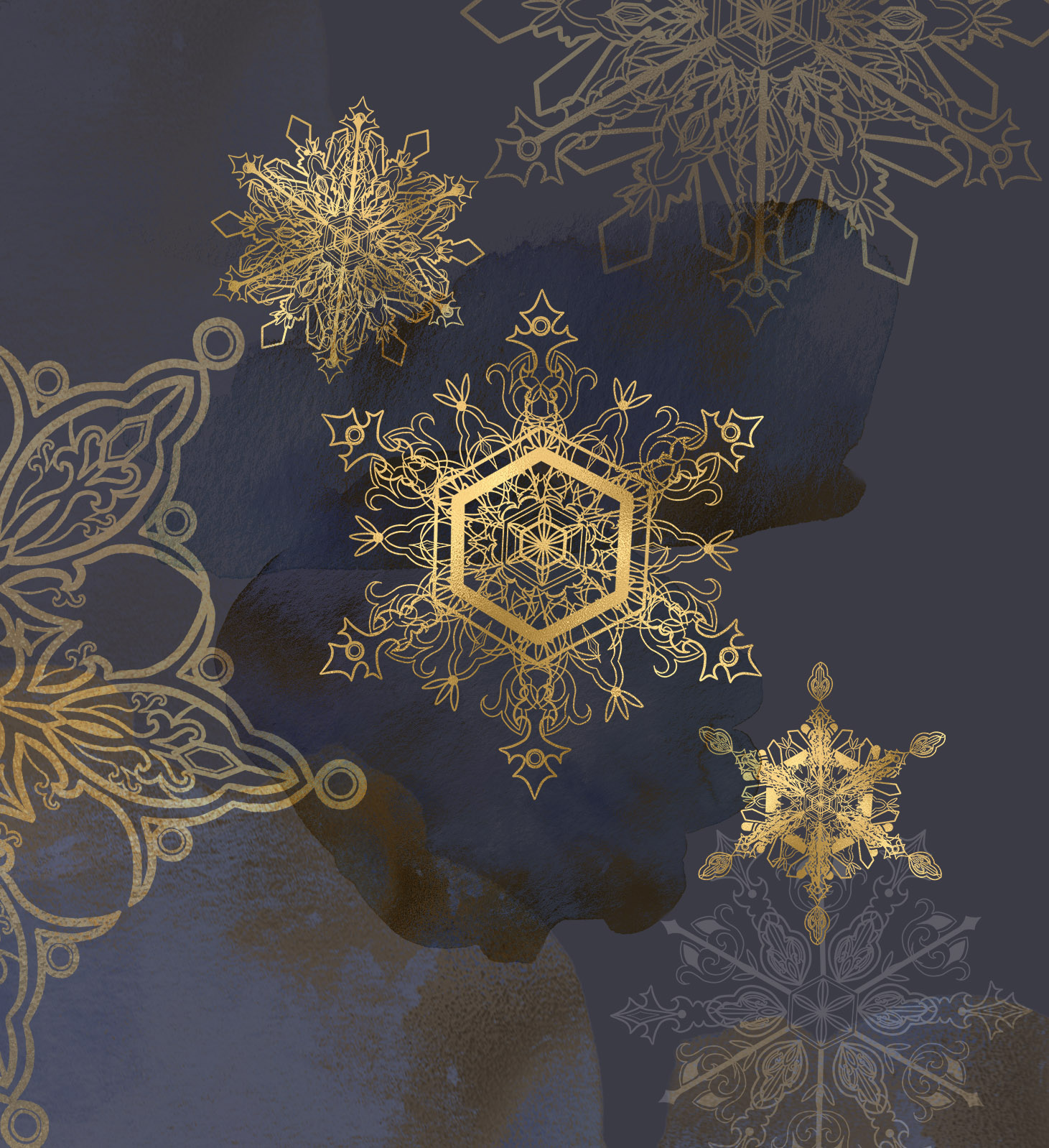 Winter snowflakes clipart set with watercolor splashes example image 9