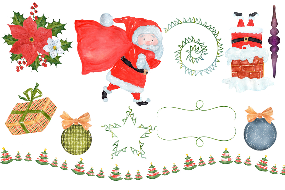 Bundle Watercolor Christmas Kids Clipart example image 15