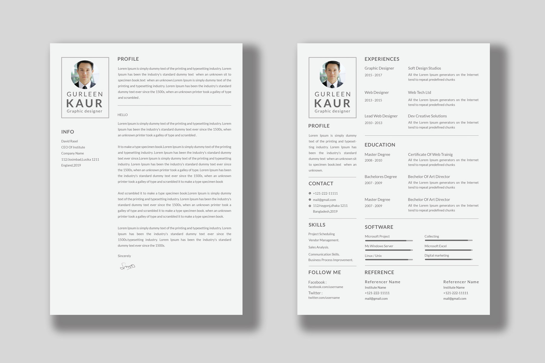 Professional Cv Resume Bonus business card Word/PSD,AI example image 11