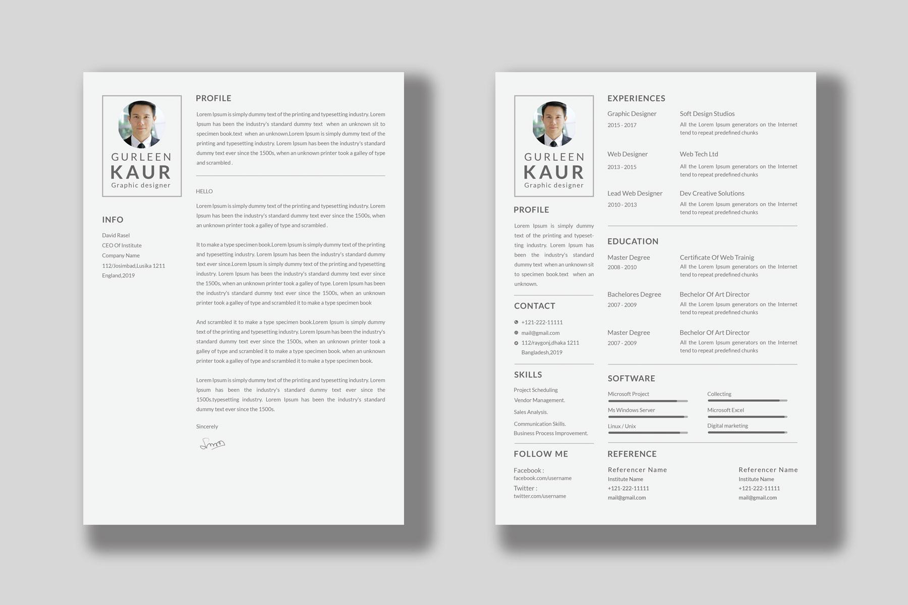 Professional Cv Resume Bonus business card Word/PSD,AI example image 11