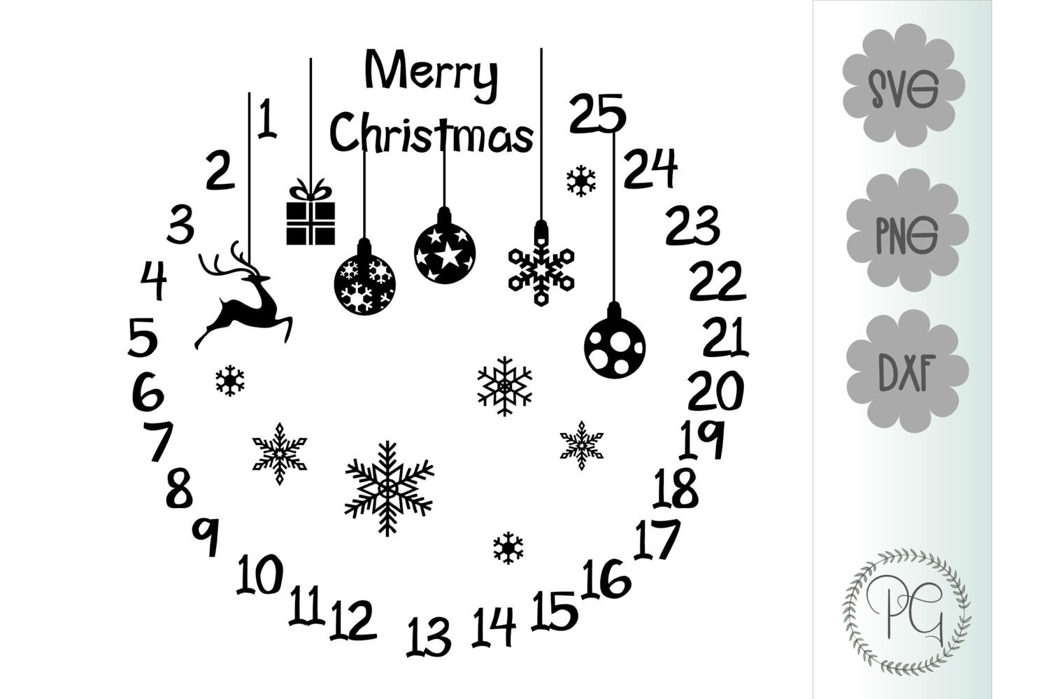 Christmas Countdown SVG PNG JPG DXF example image 2