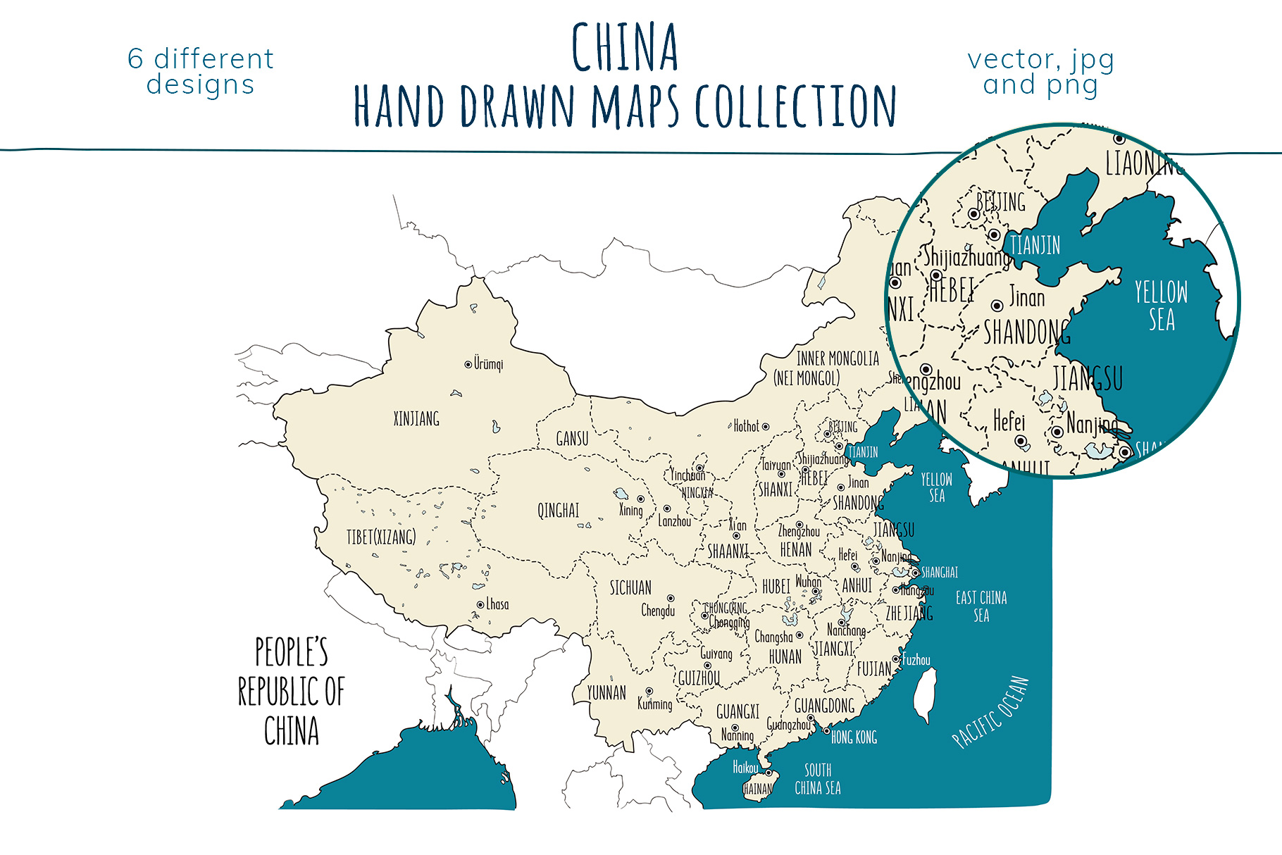 Maps of China. Hand drawn collection example image 6