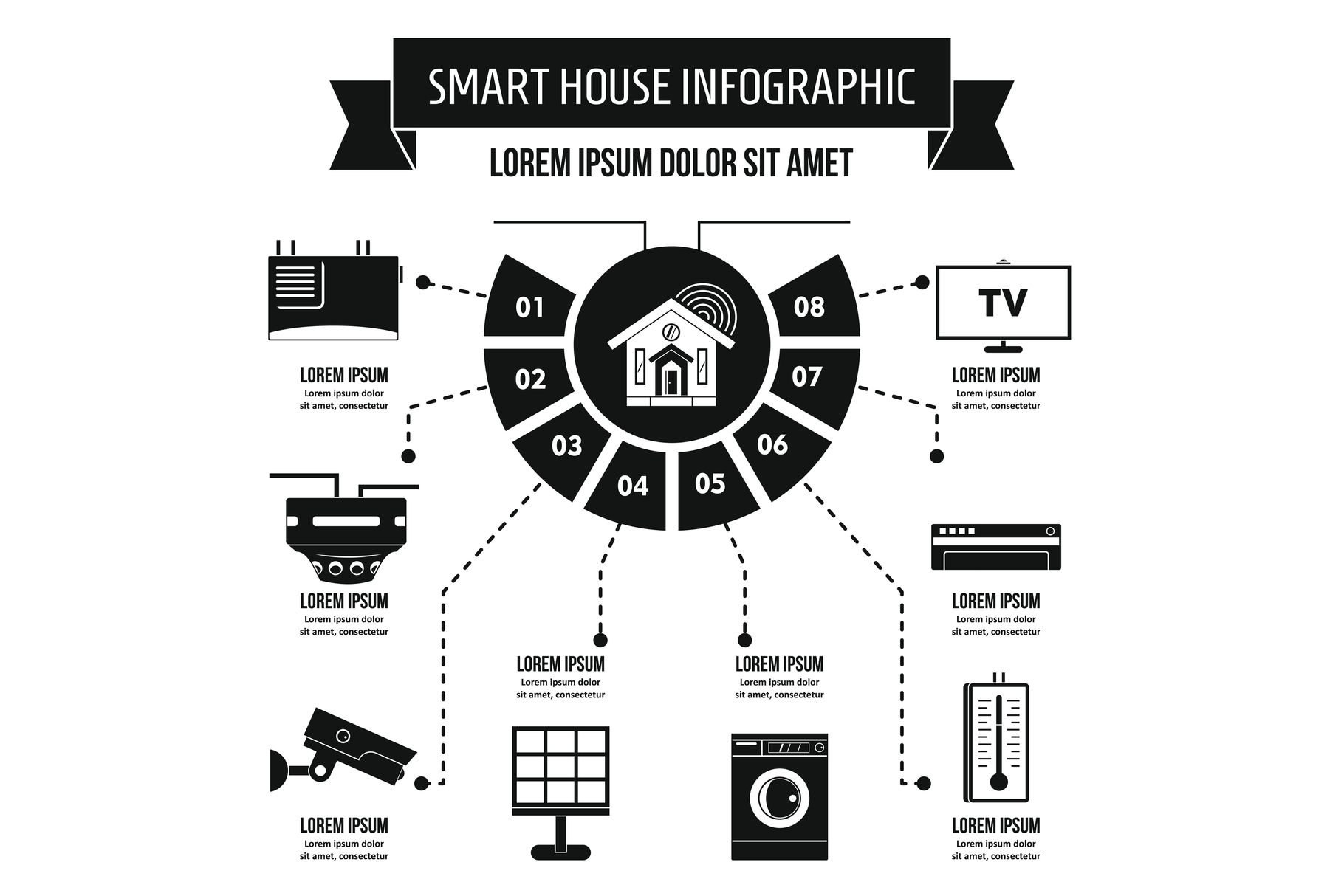 Smart house infographic concept, simple style example image 1