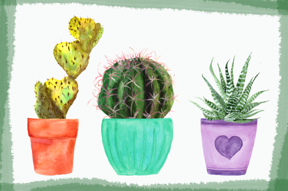 Watercolor Cactuses Clip Art Set example image 4