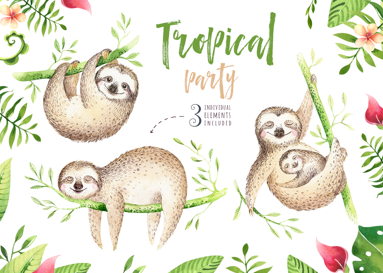 Tropical party III.Sloth collection example image 7
