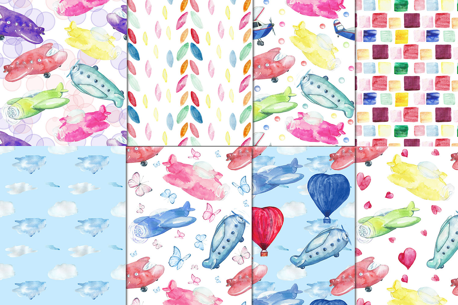 Watercolor Kid's airplanes clipart, patterns example image 4