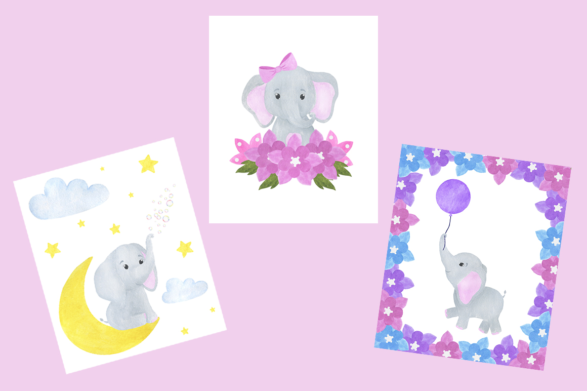Set of illustrations of a cute little watercolor elephant example image 6
