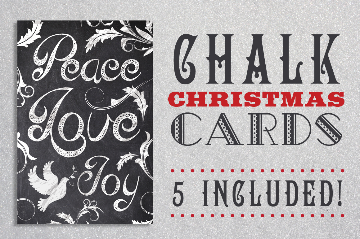 Chalk Christmas Card Bundle example image 1