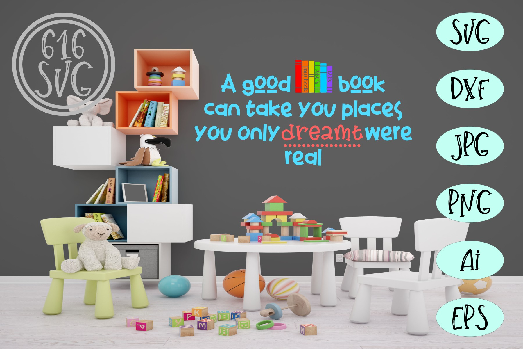 Childrens Library Bundle SVG, DXF, Ai, PNG example image 5