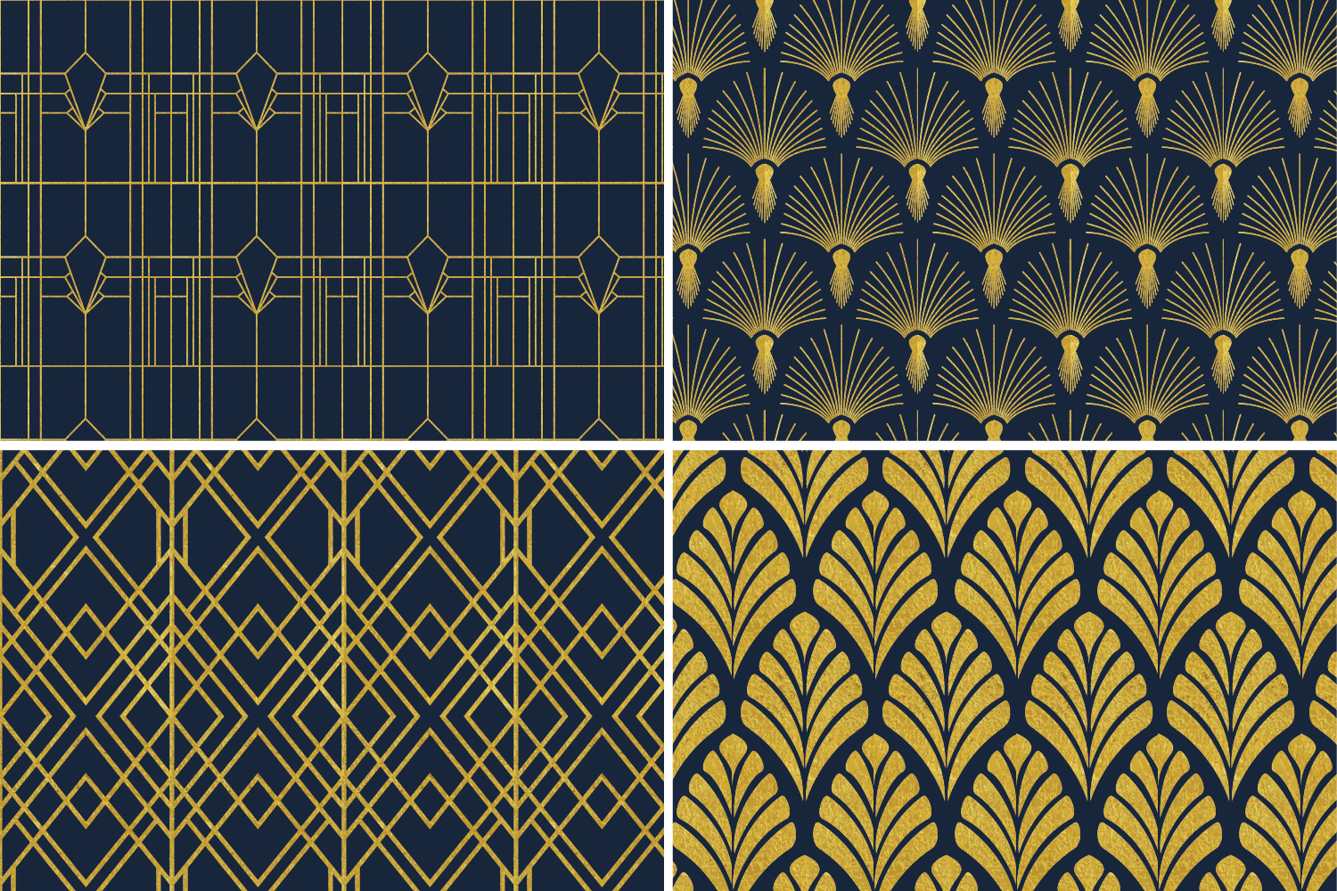 8 Seamless Art Deco Patterns - Gold & Navy Blue - Set 3 example image 5