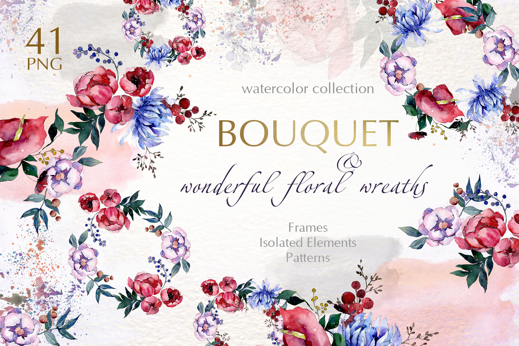 Bouquets with flowers Watercolor png example image 1