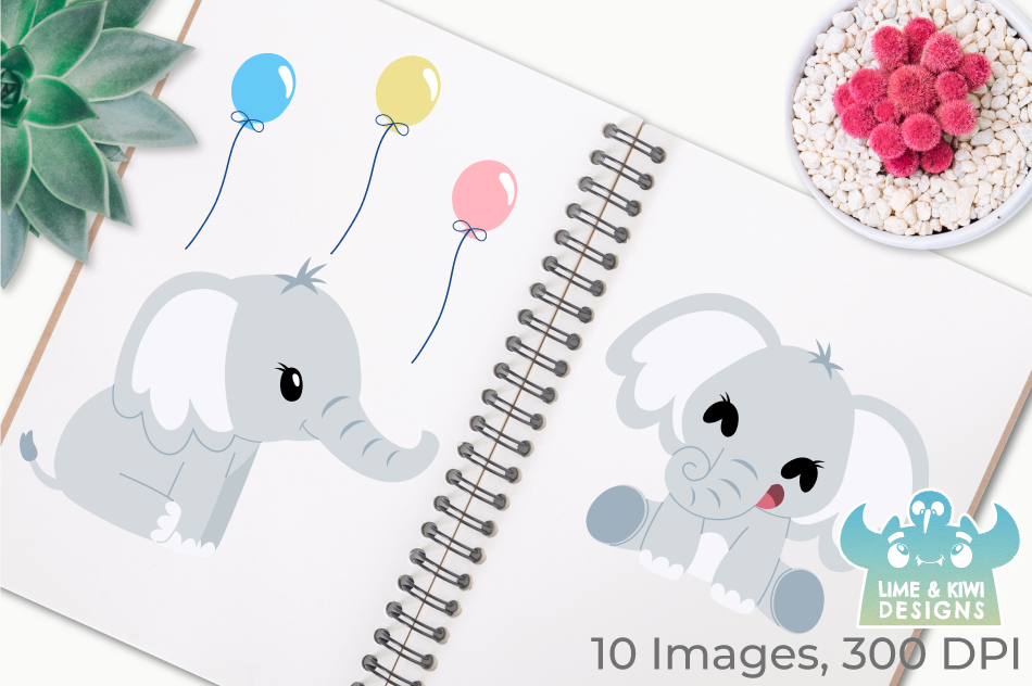 Cute Elephants Clipart, Instant Download Vector Art example image 3