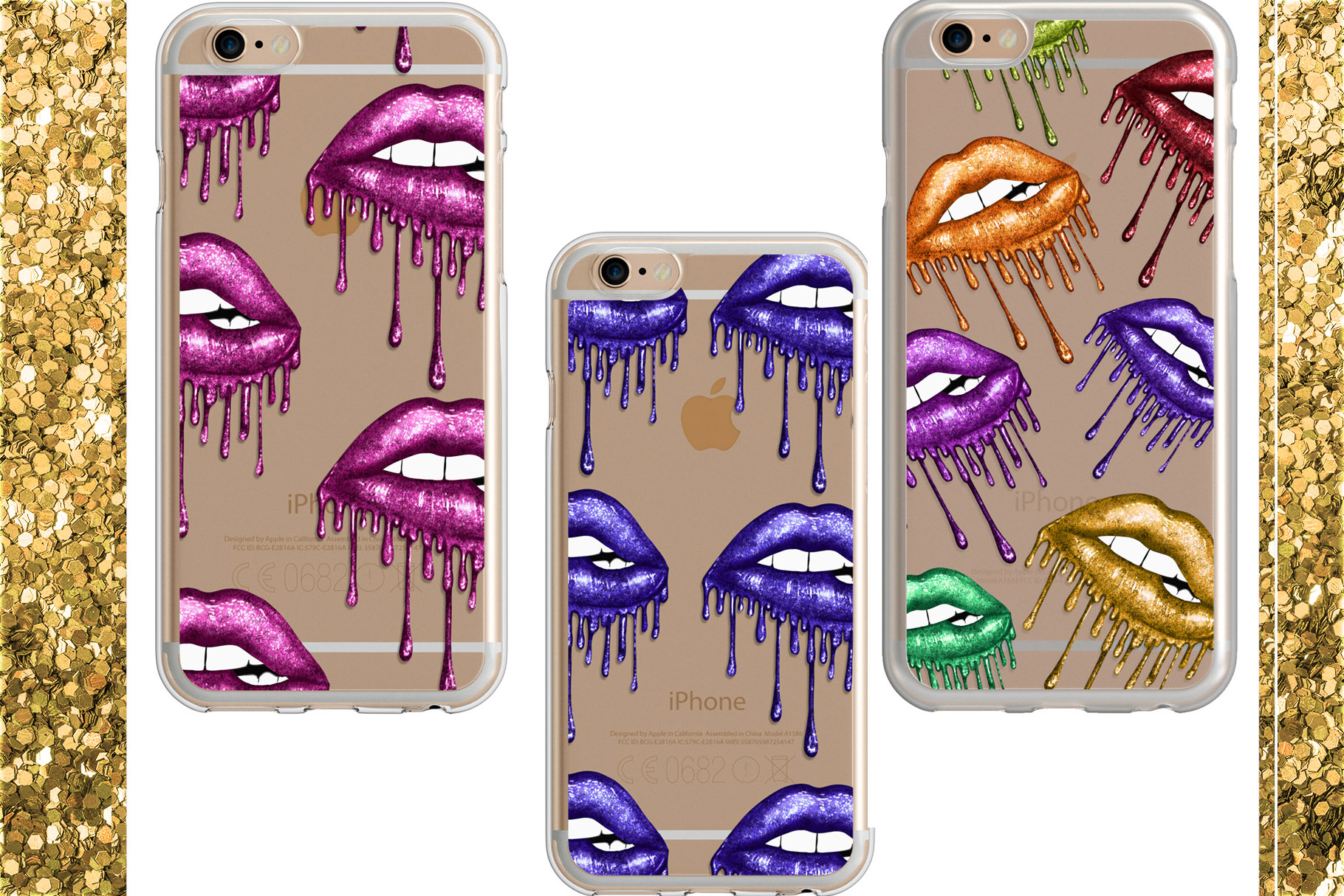 22 Dripping Glitter Lips Cliparts example image 6