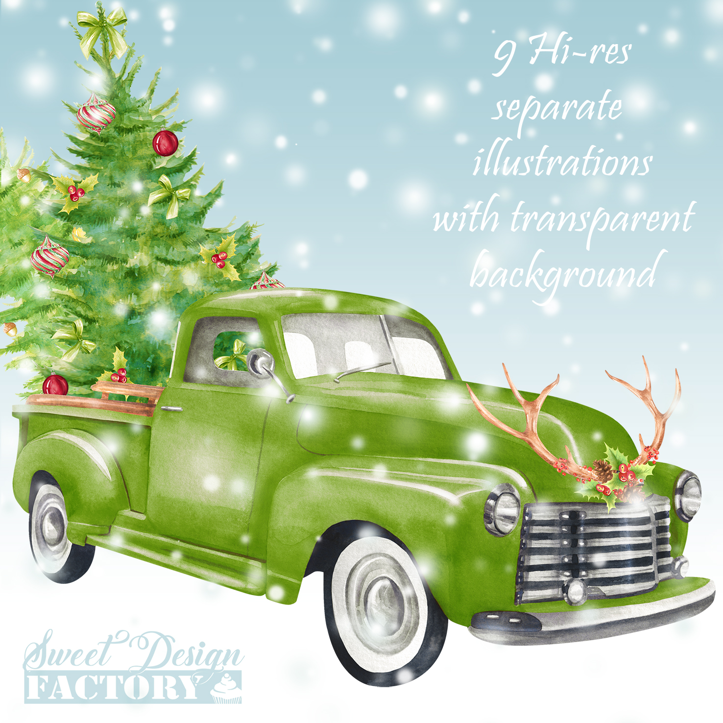 Watercolor Christmas retro truck clipart example image 8
