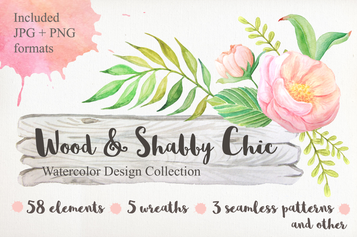 Shabby Chic Watercolor Pack example image 1