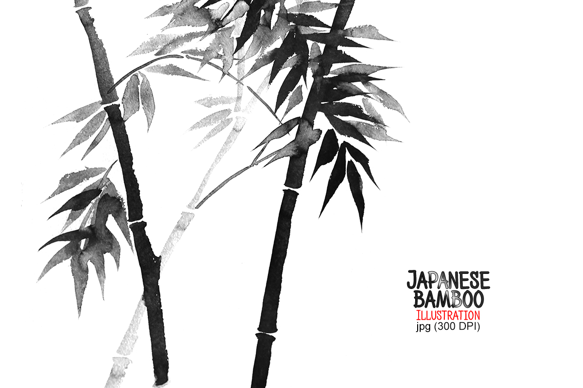 Ink sumi-e bamboo example image 1