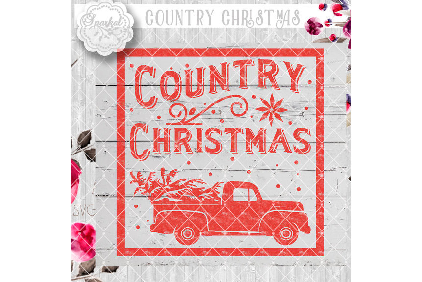 Vintage COUNTRY Christmas SVG File, Cutting File, Vector Clipart Holiday Decor, Silhouette Cutting file design Available in Svg,Dxf,Eps,Png example image 5