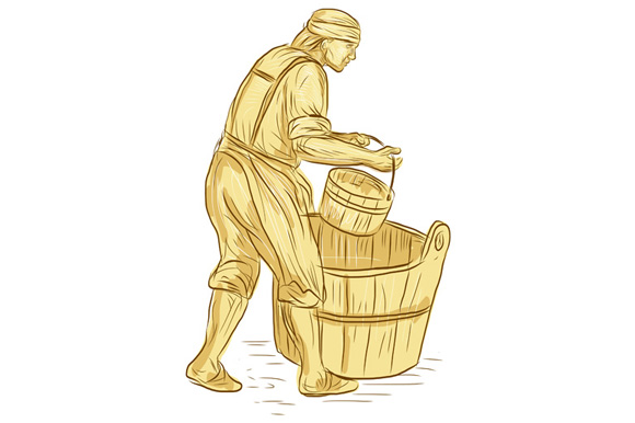 Medieval Miller With Bucket Drawing example image 1