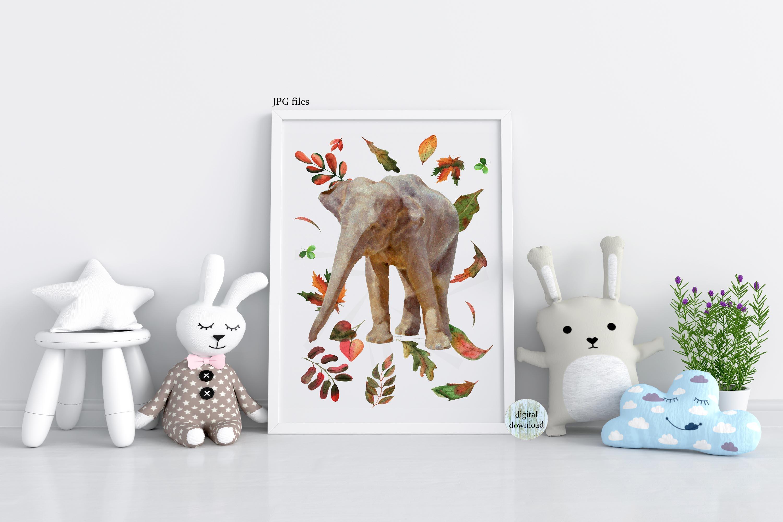 Fall elephant printable files, Elephant nursery poster, example image 1