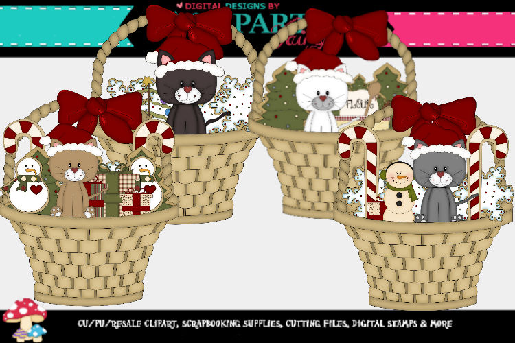 Kittens in Christmas Basket example image 1
