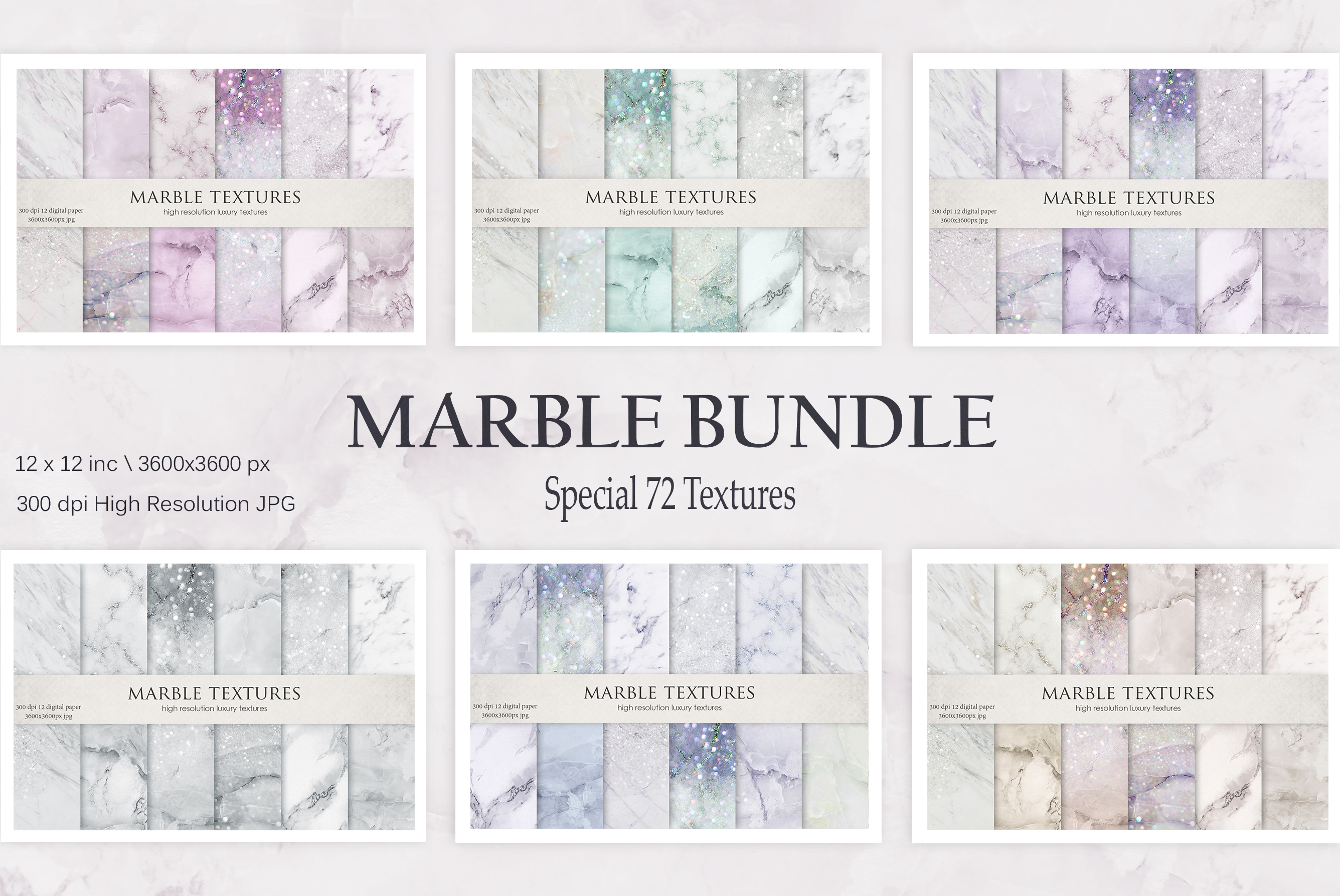 Gold Marble and Iridescent Glitter Textures BUNDLE example image 16