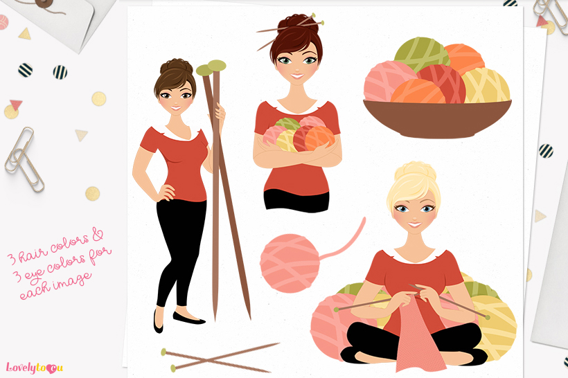 Woman knitting character clip art L163 Juliet example image 1