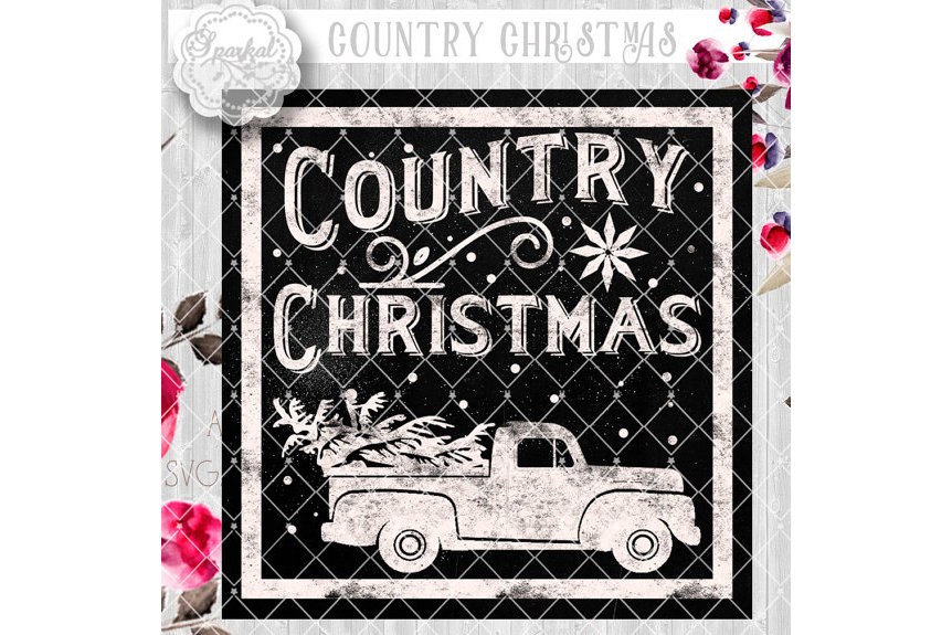 Vintage COUNTRY Christmas SVG File, Cutting File, Vector Clipart Holiday Decor, Silhouette Cutting file design Available in Svg,Dxf,Eps,Png example image 6
