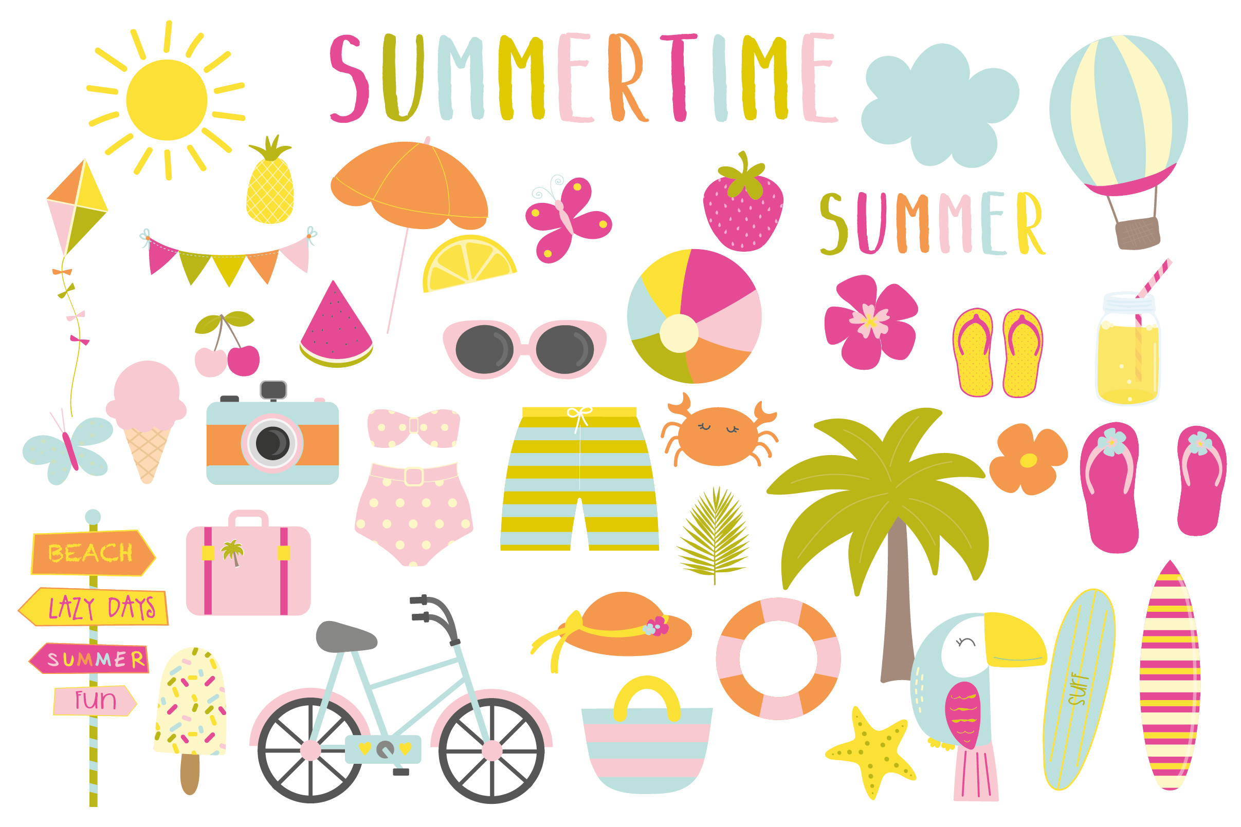 Summertime set, clipart and papers (93019) | Card Making ...