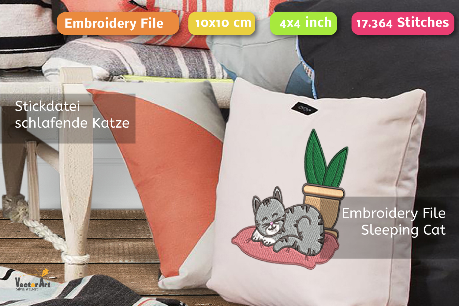 Sleeping Cat with Succulent - Embroidery File - 4x4 inch example image 4