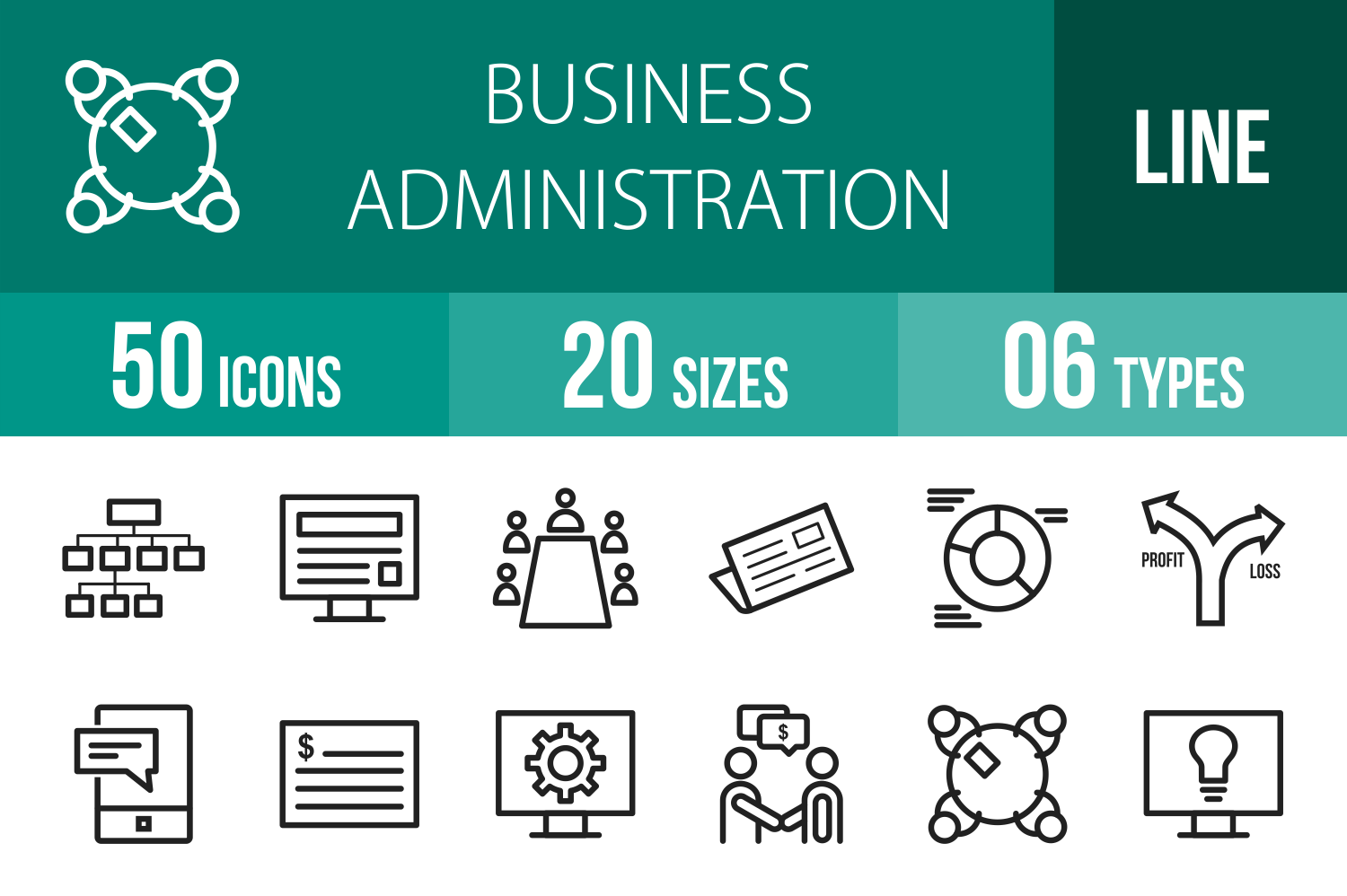 50 Business Administration Line Icons example image 1